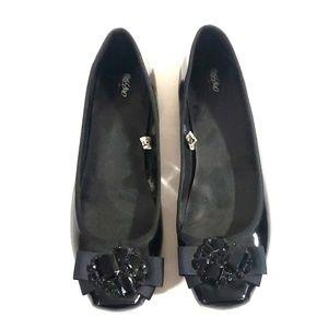 《Xhilaration》Black Ballet Flats Sz 9.5 Rhinestone